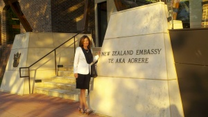 Hilbert Professor Joan Crouse outside the New Zealand Embassy in Washington, DC.