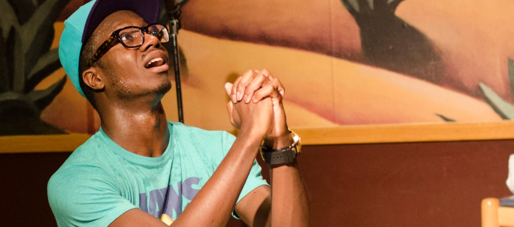 Xclusive pretends to beg his girlfriend not to break up with him during his show at Salsarita's on Friday.